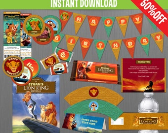 The Lion King Birthday Party Collection - Instant Download and Edit with Adobe Reader
