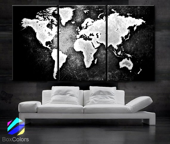 large 30x 60 3 panels art canvas print world map. Black Bedroom Furniture Sets. Home Design Ideas