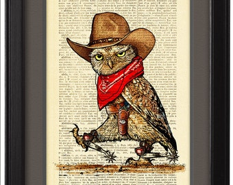 Owl Cowboy, Colt 45, rt poster, Dictionary Pages, Gift, Wall Art, Dorm decor, Book Pages, Funny poster print, CODE/031