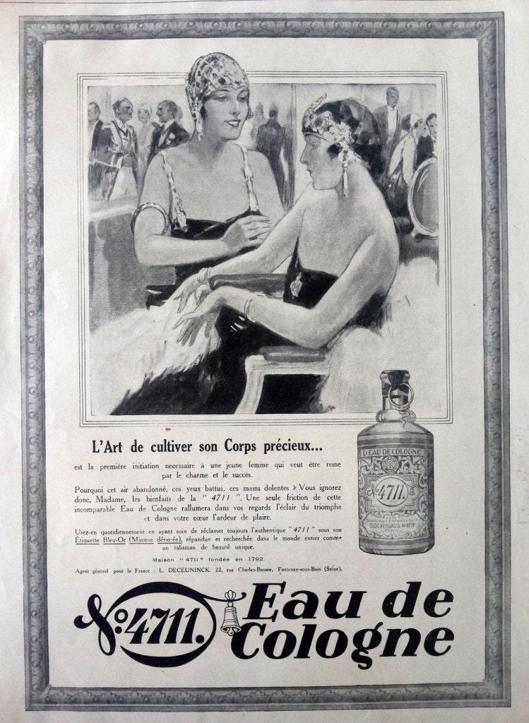 Eau de Cologne 4711 vintage advertising original print art -> Vintage Möbel Leihen Köln