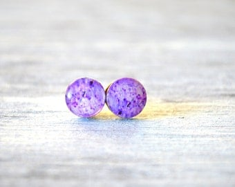 Lavender earring , lavender jewelry , lavender stud , purple stud , purple earring , lavender flower , floral lavander , purple flower earri