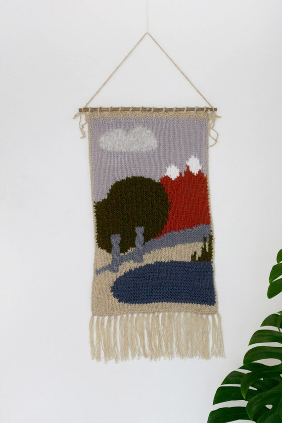 Large Hand Knitted Wall Hanging Nursery Decor Fiber Art