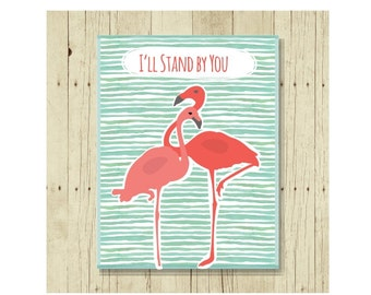 Flamingo Magnet, I'll Stand By You, Refrigerator Magnet, Cancer Support, Gifts Under 10, Small Gift, Gift for Friend, Pink Flamingo