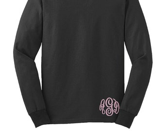 Monogrammed Long Sleeve Shirt with monogram at the bottom hem--Unisex fit Small-5x tee shirt--Womens Embroidered Monogram personalized