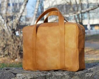 Leather handbag, mens handbag, leather bag, mens bag, top handle bag, B011 Ginger