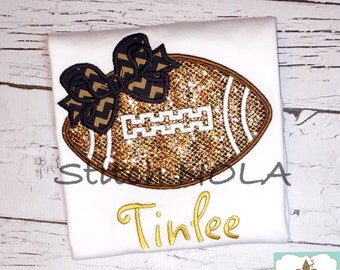 Glitter Football with Bow T-Shirt or Bodysuit, Girly Football Applique, Girl Football Applique, Girl Football Shirt, Football with Bow