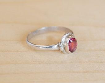 Garnet Ring Sterling Silver Handmade Size 5