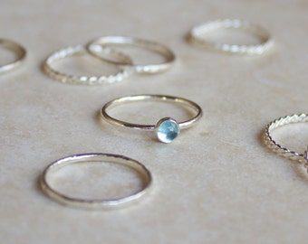 Blue Topaz Stacking Ring 4mm, Silver Ring, Blue Topaz Ring, Engagement Ring, November Birthstone
