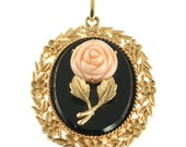 Avon Rose Cameo Pendant/ Looking Glass
