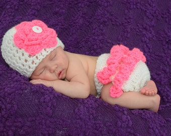 Crochet Baby Set, Baby Girl Hat, Flower Hat, Ruffle Diaper Cover, Baby Shower Gift, Coming Home Outfit, Photo Prop, Flower Set