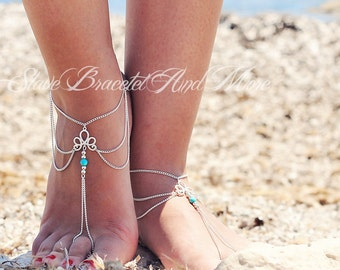 anklet foot jewelry barefoot sandals antiquwsilver turquoise bead boho bohemian hippie ethno body jewelry A71