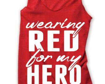 Wearing Red for My Hero MILSO Military Red Friday Racerback Tank