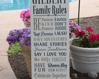 PERSONALIZED FAMILY RULES  Wood Sign / Custom made Sign with Family Name