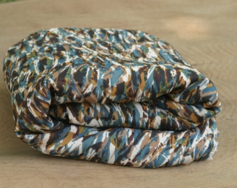Fabric Blue Brown Print vintage curtain dress pillow poly