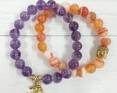 Beaded bracelet set with buddha and om charm, Bohemian Jewelry