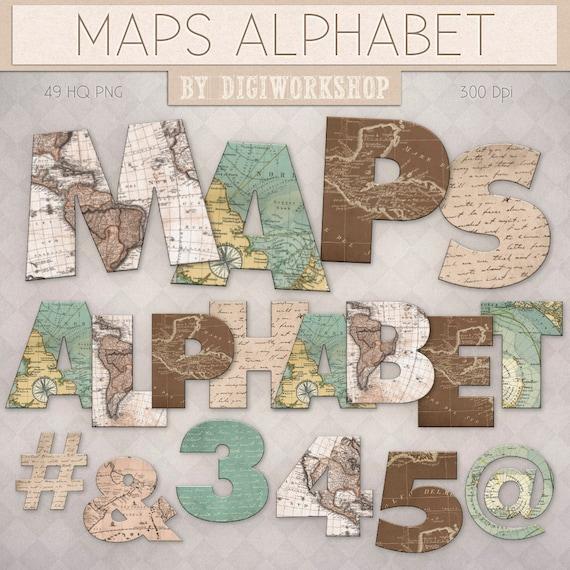 Digital Alphabet Letters Clipart Clip Art: Maps By