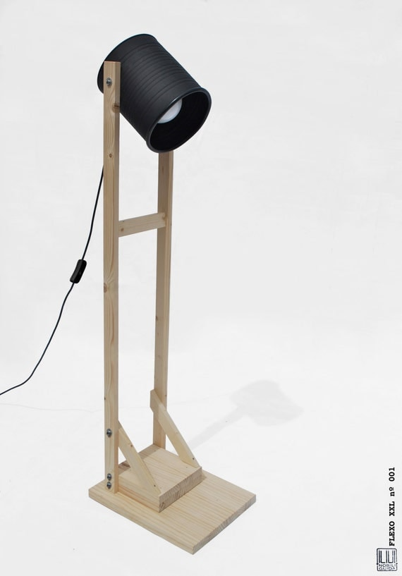Floor lamp , mat black + light pine wood, hand-made / home-made ...ECO-friendly: recyled from big olives can !