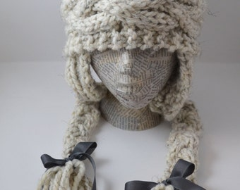 Natural Color large cabled Adult Beanie with Ear Flaps, removable pom pom and Charcoal Ribbons