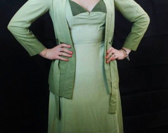"1960's does the 1930's Green Ombre Dress and Jacket 26""W"