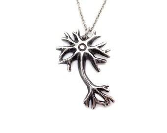 Handmade Neuron Necklace, Brain Cell Pendant, Neuroscience Jewelry