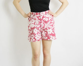 Vintage 80's 90's White Red Floral Print High Waisted Denim Shorts