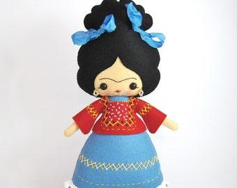 Ready to ship Frida Kahlo 100% wool felt doll, Frida doll