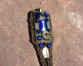 Ravens native American inspired mosaic beadwork pendant by beadworkdreamsraven.
