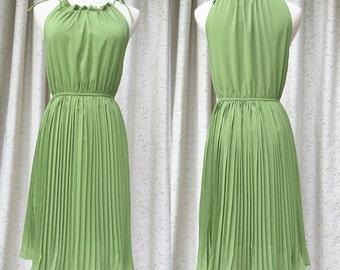 green chiffon dress summer sleeveless dress women clothing women dress beach dress