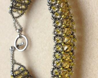 Beaded Swarovski Crystal Bracelet-Light Grey/Yellow-8 in.