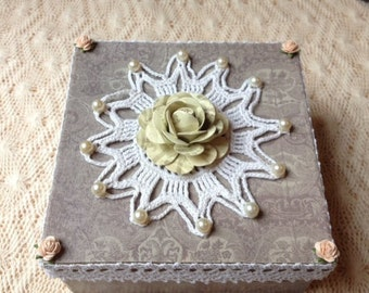 Hand Decorated Gift Box-Crochet Lace-6 in.