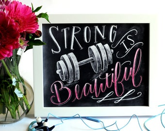 Fitness Motivation, Weightlifting, Strong Is Beautiful, Girl Fitness, Gym Art, Fitness Art, Chalk Art, Chalkboard Art, Typography