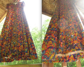 Vintage 1960s Psychedelic Day Dress // 60s Flower Power // Psychedelic Style // Op Art Abstract Day Glo