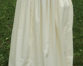 Colonial/Pioneer simple, cotton petticoat custom made in your choice of muslin color old fashioned gathered full skirt--MADE TO ORDER