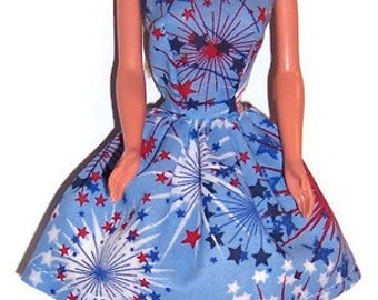 Fashion Doll Clothes-Fireworks Print Strapless Party Dress