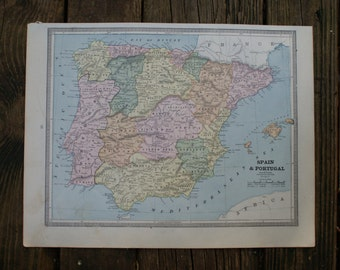 1883 - Spain Map - Large Antique Map - Beautiful Old Map of Spain - Large Vintage Map - Colorful Crams Atlas Map - Gift - Home Decor