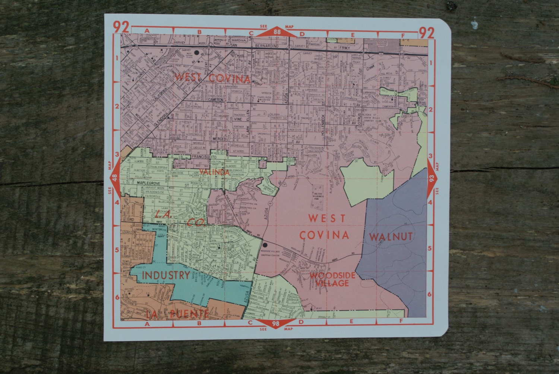 Vintage West Covina California Map Old Map Of Los Angeles - Los angeles map vintage
