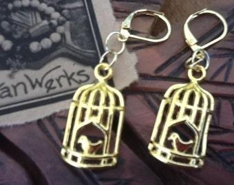 Bird Earrings Bird in a cage earrings gold tone earrings women's earrings teen earrings