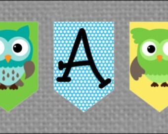 Printable Owl Baby Boy Shower Banner - YOU PRINT