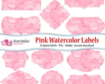 Pink watercolor labels clip art. Watercolor frames digital clipart. Commercial & personal Use. Instant Download. Frame label coral baby girl