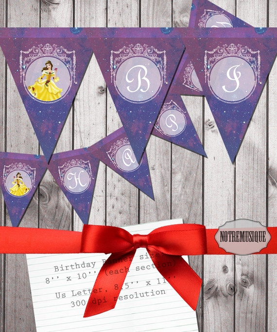 BEAUTY & THE BEAST Birthday Banner 8x10 Inch Large Size