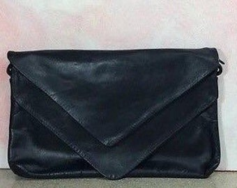 OHH! ASHLEY Genuine Black Leather Purse Evening Envelope Clutch