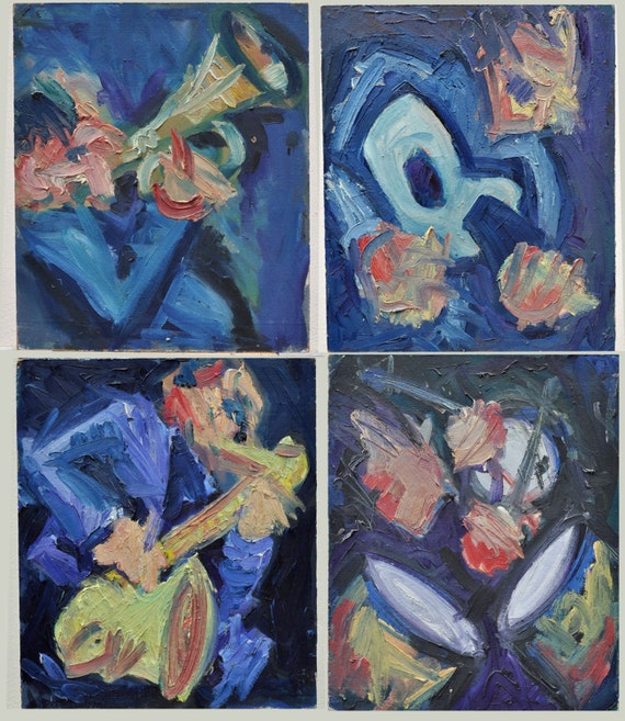 The Jazz Players - Tetrapytch - Original Vintage Oil Paintings - Board On Box Frames - 1980s