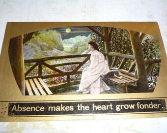 Absence Makes the Heart Grow Fonder Antique Postcard