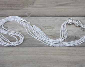 Joanne Necklace - Asymmetrical White Seed Bead and Silver Rhinestone Multistrand Opera Length Necklace