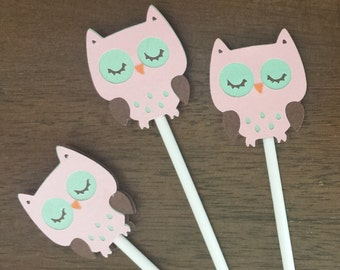 Owl Baby Shower, Owl Birthday Party, Pink Owl, Owl Cupcake Toppers