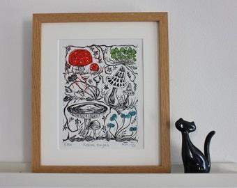 Festive fungus - hand printed lino cut