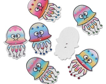 "Wooden Octopus - Jelly Fish Design Sewing Buttons. 3.2cm(1 2/8"") x 22.0mm( 7/8""). Ideal for Sewing, Scrapbook and Crafts"