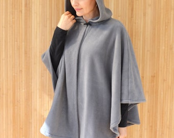 Gray Hooded Cape, Hooded Cloak, Cape Coat, Hooded Poncho, Polar Fleece Poncho, Cape Jacket, Plus Size Cape Coat