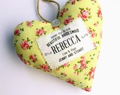 Bridesmaid Gift - Personalised Fabric Heart Produced in Your Choice of Fabric - Supplied Gift Boxed. Lovely Wedding Party Thank You Gift
