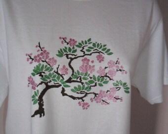 Cherry blossom shirt hand painted